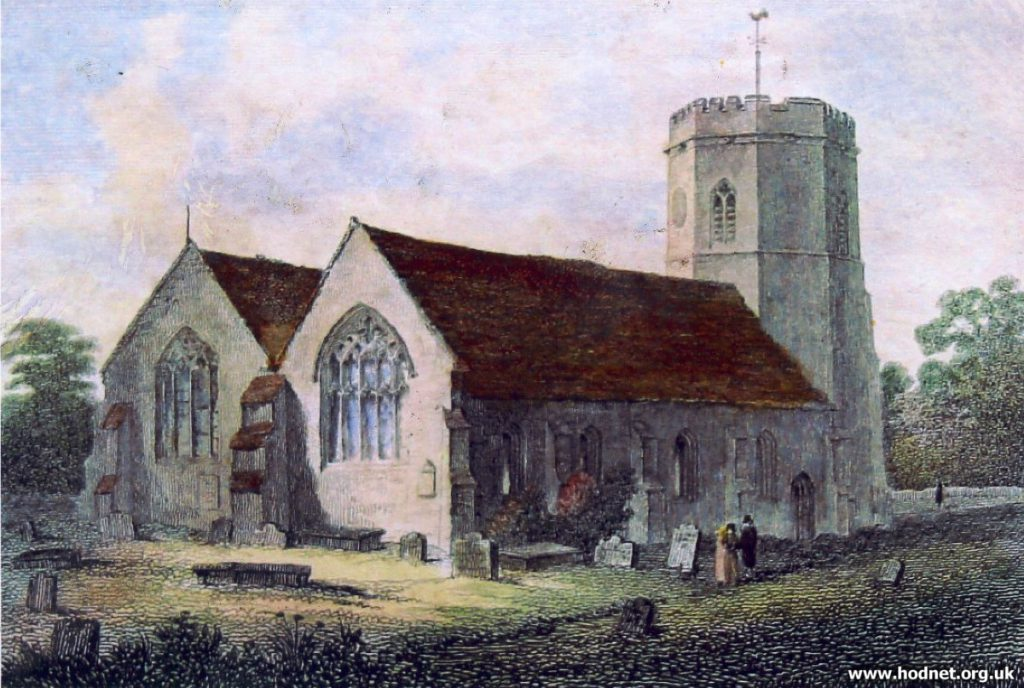 Drawing of St Luke's Church, Hodnet
