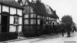 Thatch fire on house in Drayton Road, Hodnet