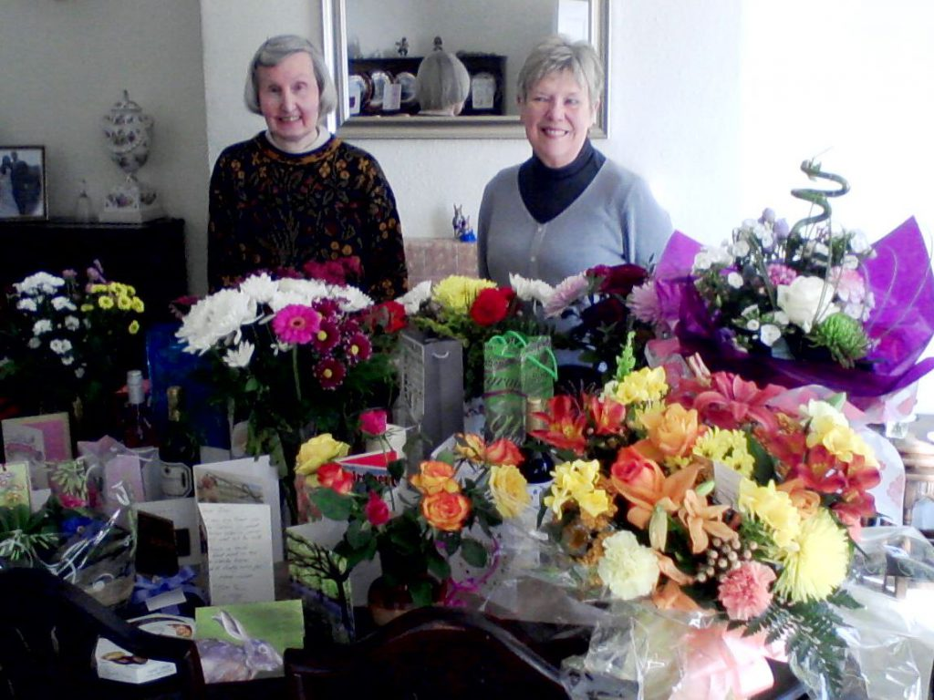 Gina & Kath with some of the gifts they have received