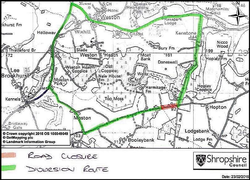 Hopton Road Closure Map