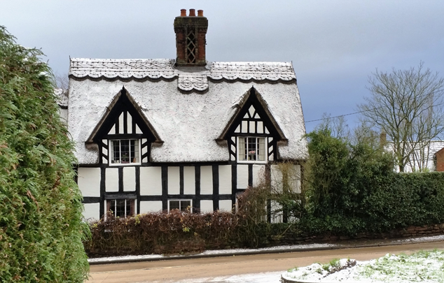 Marchamley house in snow