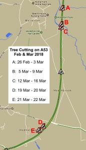 Tree Cutting on A53 - Feb/Mar 2018